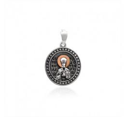 Ладанка серебряная с золотом  Николай Чудотворец (486п)