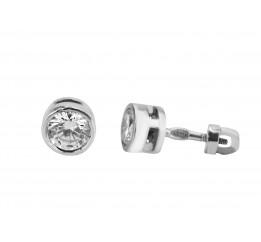 Серьги пусеты-гвоздики серебряные с фианитами (ПСР4)