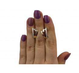 Серьги серебряные с золотом и цирконием (0482.10с)