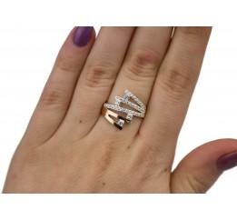 Кольцо серебряное с золотом и цирконием (0482.10к)