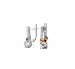 Серьги серебряные с золотом и цирконием (0354.10с)