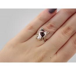 Кольцо серебряное с жемчугом и улекситом Кошечка (0094.10кр)