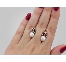 Серьги серебряные с золотом и жемчугом (0262.10с)