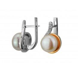 Серьги серебряные с золотом и жемчугом (0478.10с)