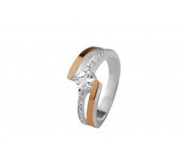 Кольцо серебряное с золотом и цирконием (0494.10к)
