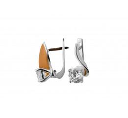 Серьги серебряные с золотом и цирконием (0460.10с)