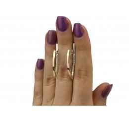 Серьги серебряные с золотом и цирконием (0498.10с)