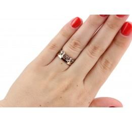 Кольцо серебряное с золотом и цирконием Корона (0208.)