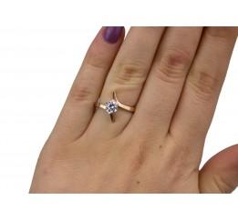 Кольцо серебряное с золотом и цирконием (0496.10к)