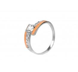 Кольцо серебряное с золотом и цирконием (0268.10к)