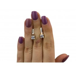 Серьги серебряные с золотом и цирконием (0396.10с)