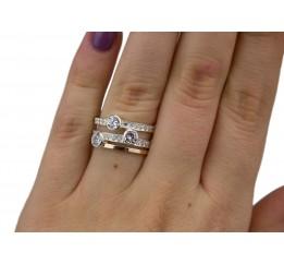 Кольцо серебряное с золотом и цирконием (0386.10к)
