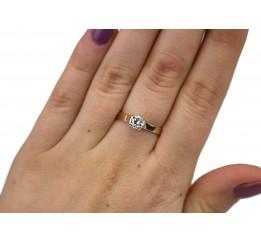 Кольцо серебряное с золотом и цирконием (0448.10к)