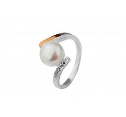 Кольцо серебряное с золотом и жемчугом (0486.10к)