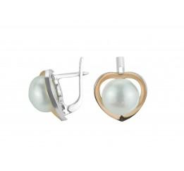 Серьги серебряные с золотом и жемчугом (0314.10с)