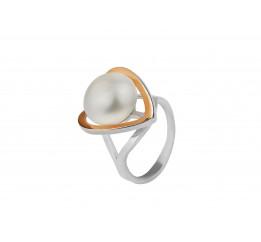 Кольцо серебряное с золотом и жемчугом (0314.10к)