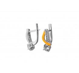 Серьги серебряные с золотом и цирконием (0480.10с)