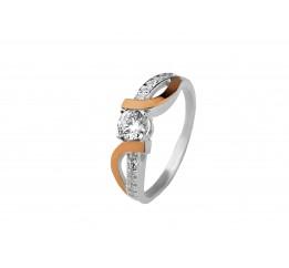 Кольцо серебряное с золотом и цирконием (0480.10к)