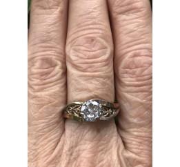 Кольцо серебряное с золотом и цирконием (0284.10к)