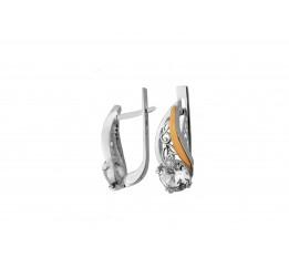 Серьги серебряные с золотом и цирконием (0284.10с)