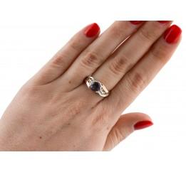 Кольцо серебряное с золотом и цирконием (0284.02к)