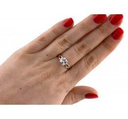 Кольцо серебряное с золотом и цирконием (0546.10к)