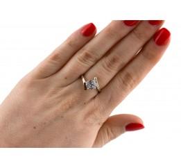 Кольцо серебряное с золотом и цирконием (0536.10к)