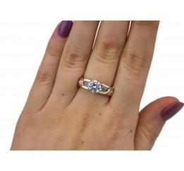 Кольцо серебряное с золотом и цирконием (0414.10к)