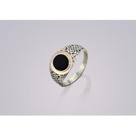 Печатка серебряная с золотом Юпитер (255з)