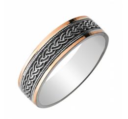 Кольцо серебряное обручальное с золотом (0374.10)