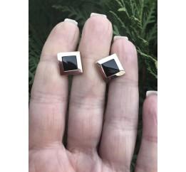 Запонки серебряные с золотом (776з)