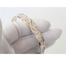 Браслет серебряный с золотом (БР019)