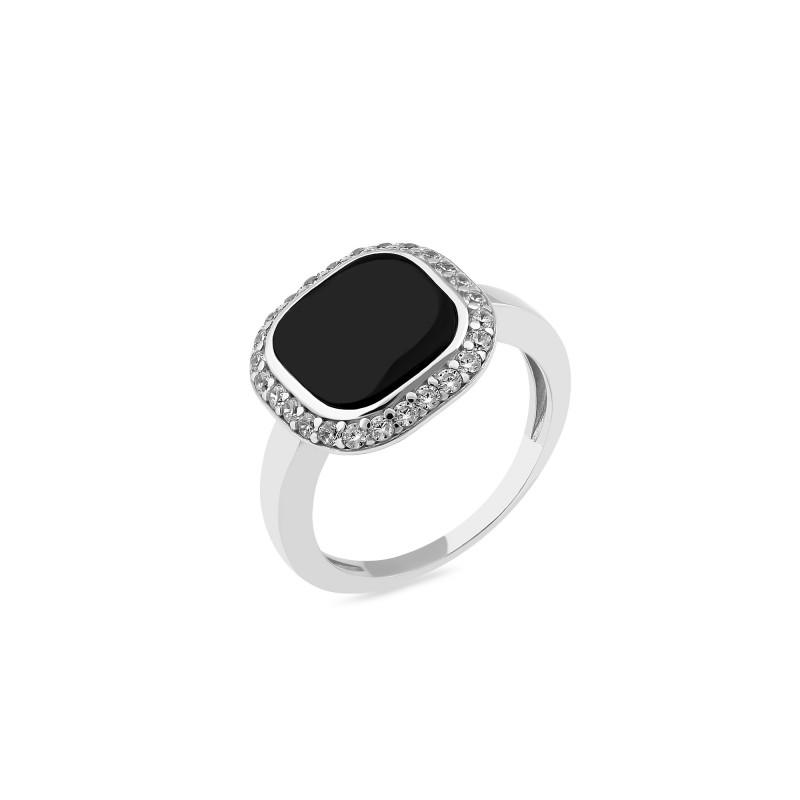 Кольцо серебряное с ониксом (828к)