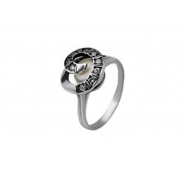 Кольцо серебряное с жемчугом Пружинка (1574)