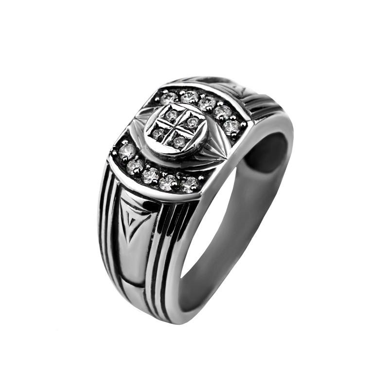 Печатка серебряная с цирконием Даллас (2111023)