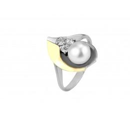 Кольцо серебряное с золотом и жемчугом Нежность (002кж)