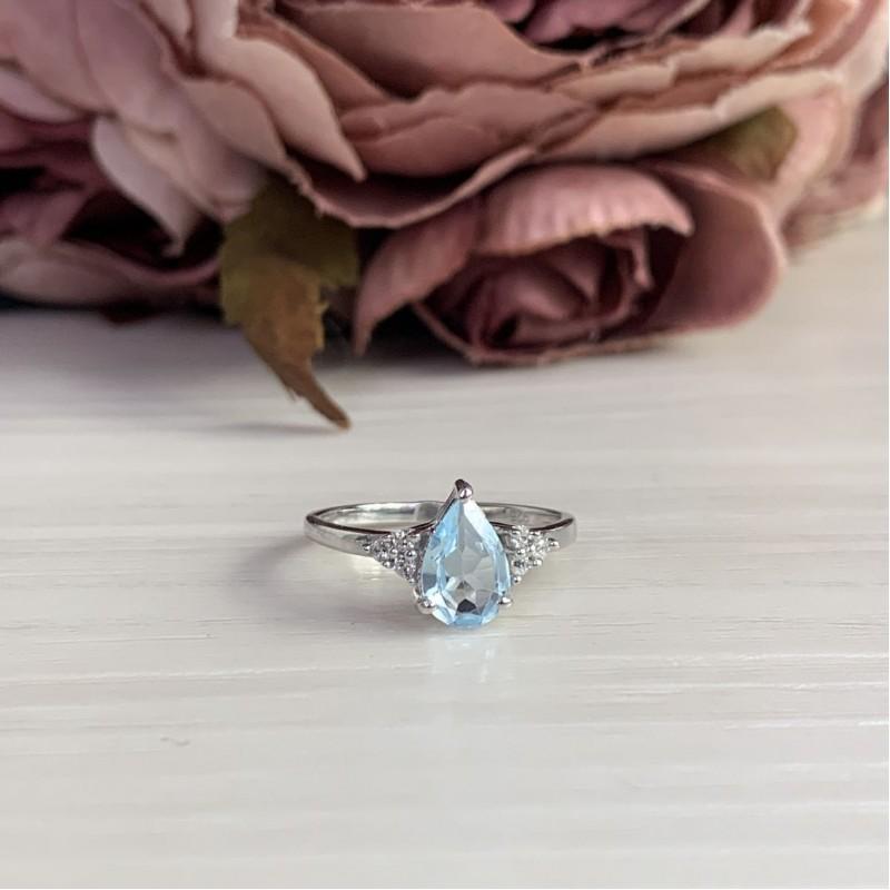 Серебряное кольцо SilverBreeze с натуральным топазом (2042730) 17.5 размер