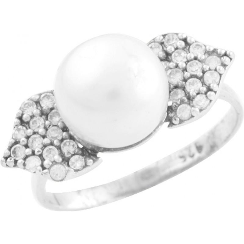 Серебряное кольцо SilverBreeze с натуральным жемчугом (0153636) 16 размер