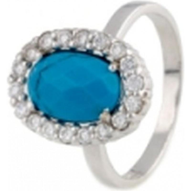 Серебряное кольцо SilverBreeze с натуральной бирюзой (0165479) 17 размер