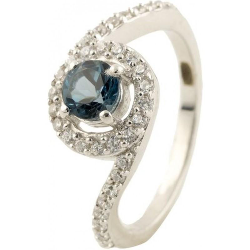 Серебряное кольцо SilverBreeze с натуральным топазом Лондон Блю (0446981) 17 размер