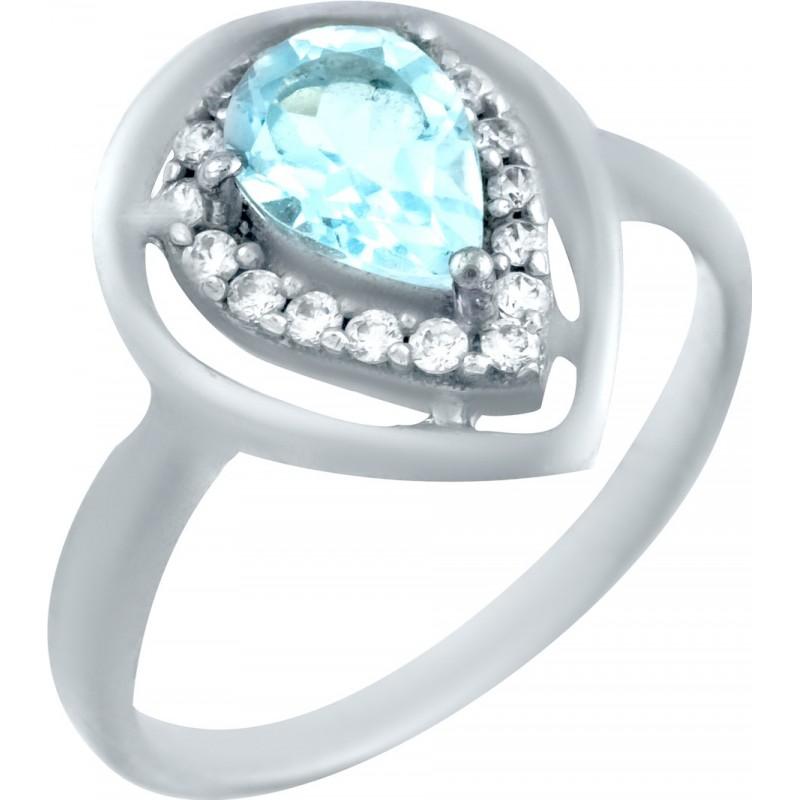 Серебряное кольцо SilverBreeze с натуральным топазом (0461908) 16 размер