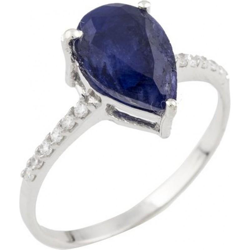 Серебряное кольцо SilverBreeze с сапфиром nano (0467986) 16.5 размер