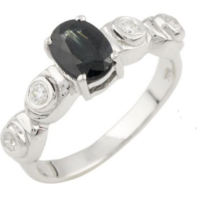 Серебряное кольцо SilverLine с натуральным сапфиром (0468792) 16.5 размер