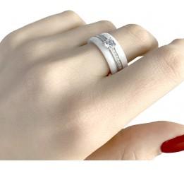 Серебряное кольцо SilverBreeze с керамикой (0481630) 18 размер