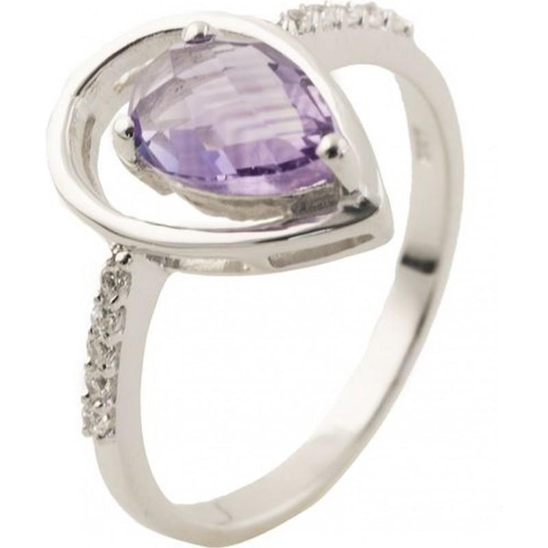 Серебряное кольцо SilverBreeze с натуральным аметистом (0515007) 17 размер