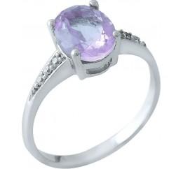Серебряное кольцо SilverBreeze с натуральным аметистом (0515120) 18 размер