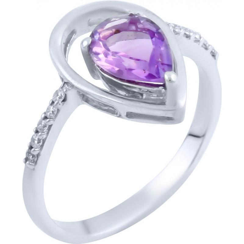 Серебряное кольцо SilverBreeze с натуральным аметистом (0515380) 18 размер