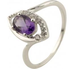 Серебряное кольцо SilverBreeze с натуральным аметистом (0515724) 16.5 размер