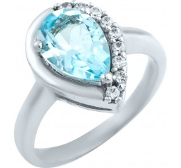 Серебряное кольцо SilverBreeze с натуральным топазом (0579887) 16.5 размер