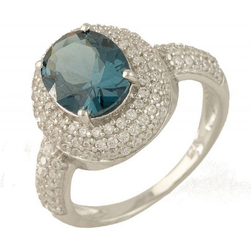 Серебряное кольцо SilverBreeze с натуральным топазом Лондон Блю (0700922) 17 размер